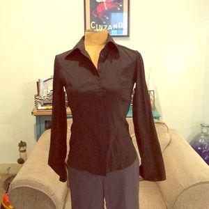Express stretch French cuff button down blouse